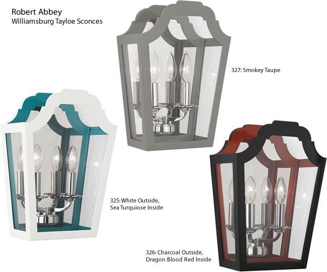 Robert Abbey 325 326 327 Williamsburg Tayloe Wall Sconces