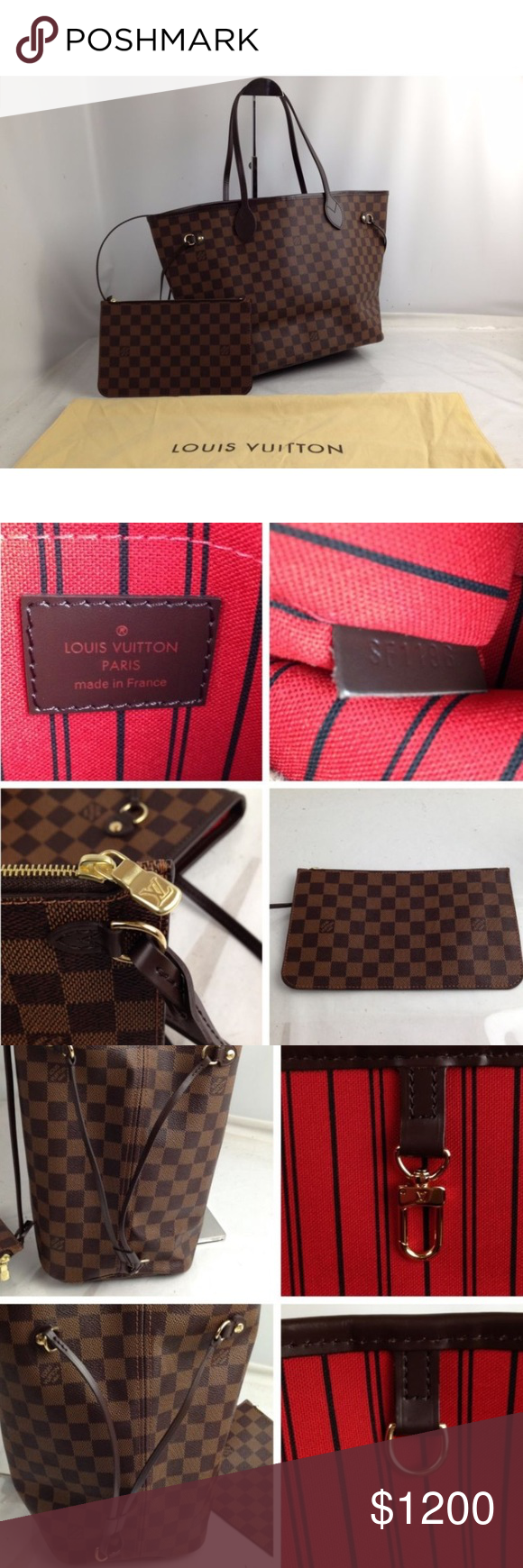 Louis Vuitton Damier Ebene Canvas Neverfull Mm Brand New Color Brown Serial Number Sf1196 Size Louis Vuitton Bag Louis Vuitton Louis Vuitton Damier Ebene