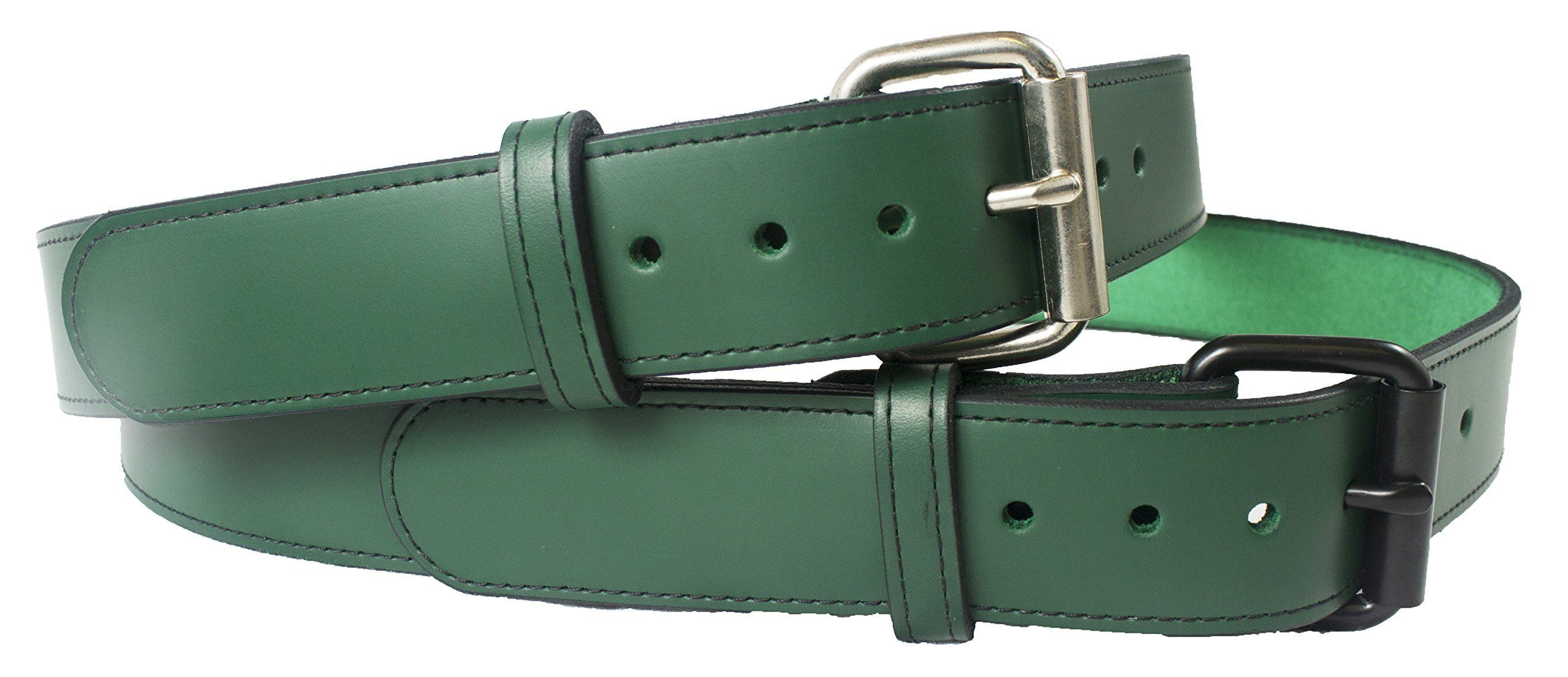 "Handmade Leather Belt 1 1/2"" Genuine Green Leather Belt Changable Buckle, Leather Dress Belt, Father's Day, Big and Tall, Personalized Free, Proudly Made in USA"