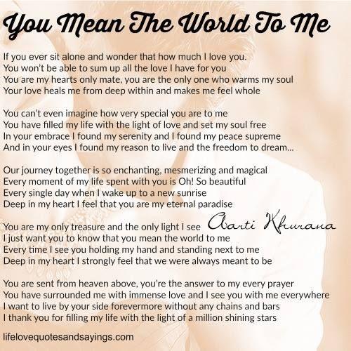 You Mean The World To Me You Mean The World To Me Soulmate Love