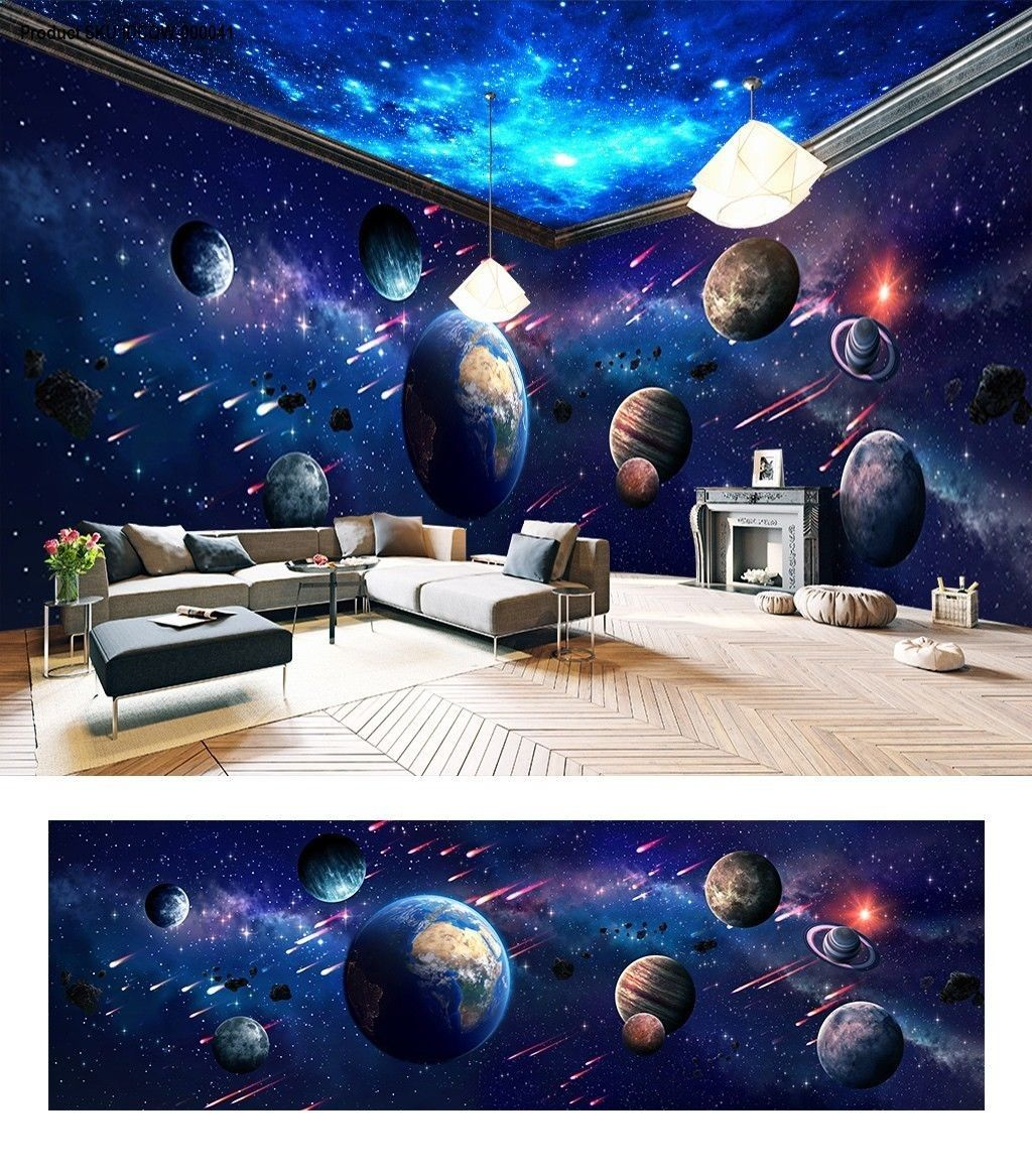 Space Universe Planet Theme Space Entire Room Wallpaper Wall Mural Decal Idcqw 000041 Wall Mural Decals Room Wallpaper Wall Wallpaper