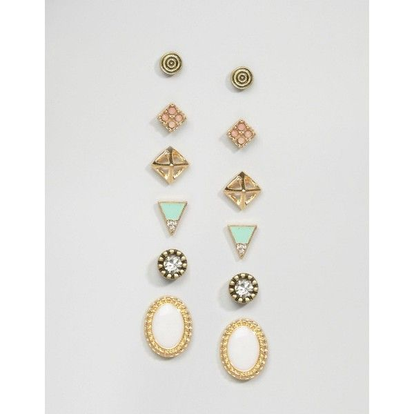 Glamorous Triangle Multipack Earrings (£6.01) ❤ liked on Polyvore featuring…