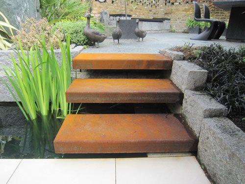 Best Floating Corten Steel Steps Change In Levels Pinterest 400 x 300