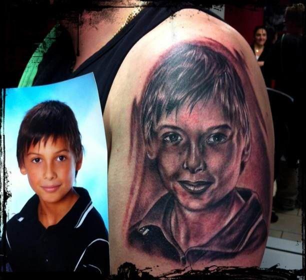 Portrait Of Child Tattoo Arm   #Tattoo, #Tattooed, #Tattoos