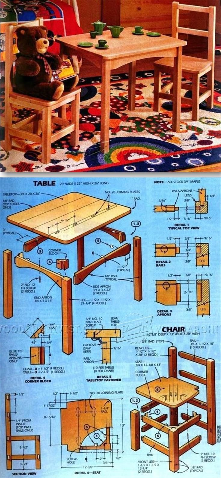 Kids Table And Chair Set Plan Children S Furniture Plans And
