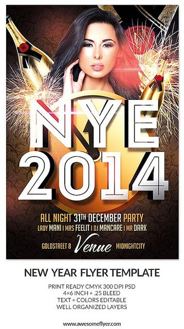 Nye Party Psd Flyer Template  Flyer Template Template And Psd