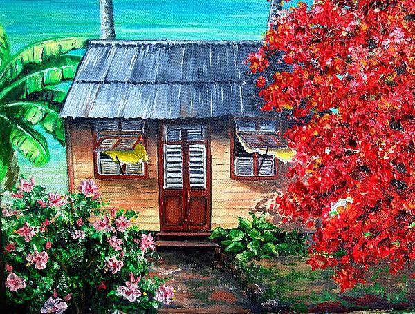 Tobago Beach House  2 by Karin Best - Tobago Beach House  2 Painting - Tobago Beach House  2