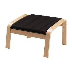 "POÄNG footstool, Alme black, birch veneer Width: 26 3/4 "" Depth: 21 1/4 "" Height: 15 3/8 "" Width: 68 cm Depth: 54 cm Height: 39 cm"
