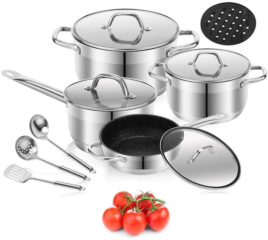 4pc Deep Non Stick Steel Stock Pot Pan Casserole Set INDUCTION Cookware SILVER
