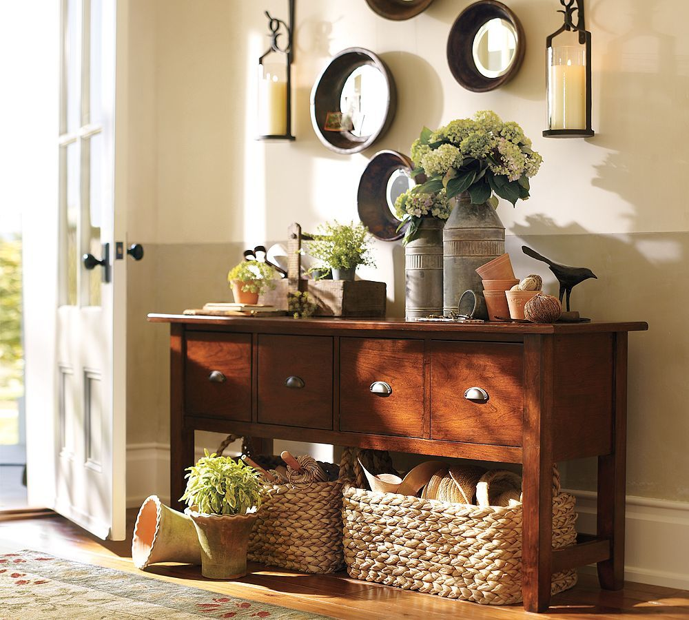 Baskets Under Console Table Living Rooms