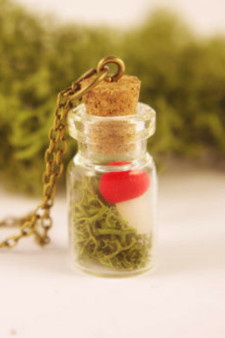 6733b61c0d37 Red mushroom green moss necklace Pendentif terrarium in a Bottle Woodland  moss jewelry Real moss nature  NewJewelleryStory  mushroom  moss  necklace  ...