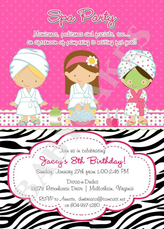 Spa party birthday invitation invite spa birthday party choose your spa party invitation diy print your own choose by jcbabycakes 1200 filmwisefo