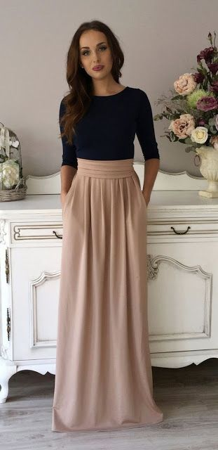 fashion | Classy navy shirt with high waisted neutral maxi skirt ...