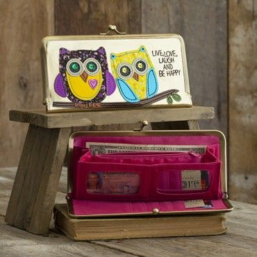 Owls Live, Love, Laugh Metallic Vegan Leather Wallet