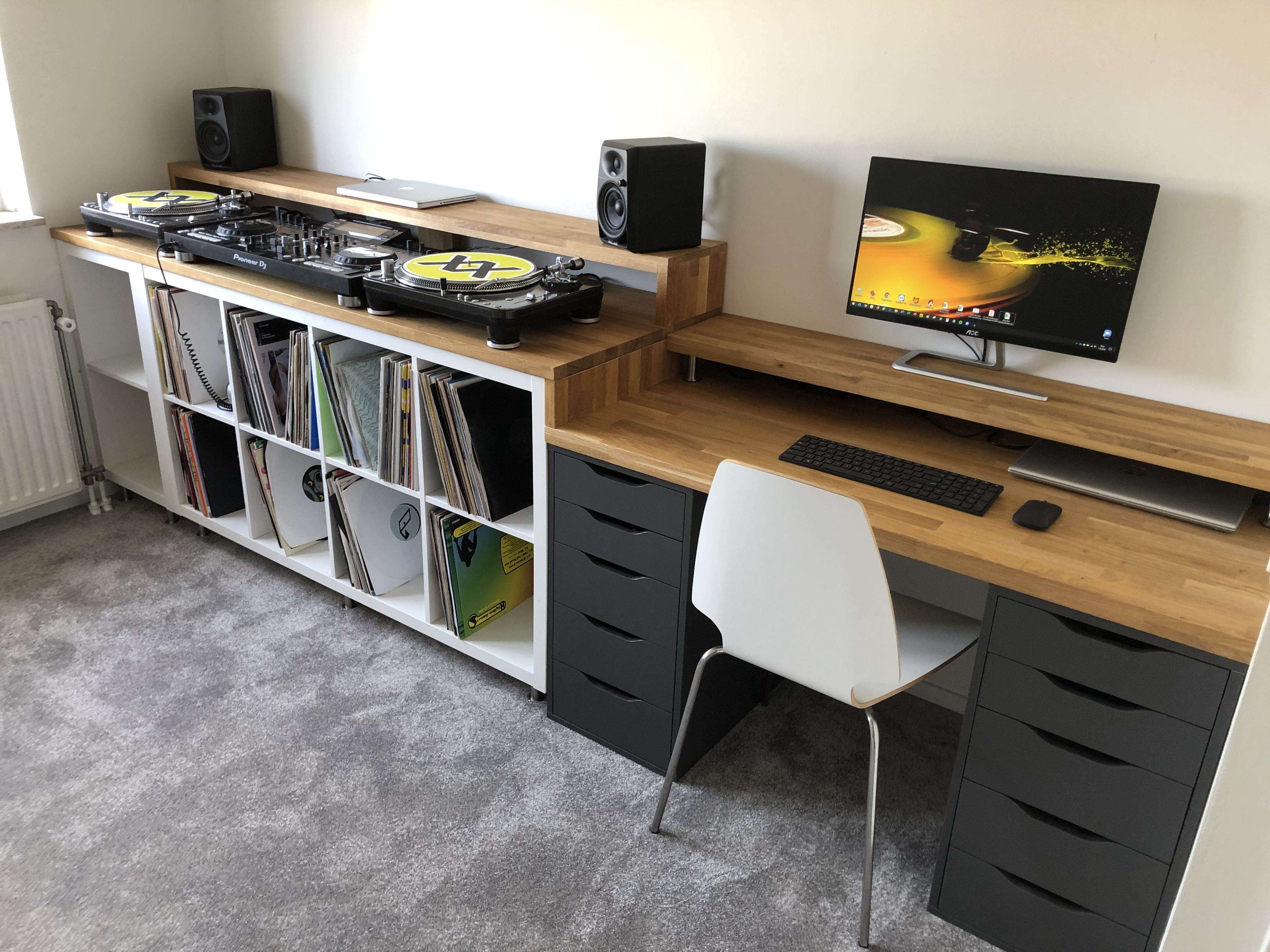 Home Ikea Dj Setup And Desk In 2020 Home Studio Desk Dj Room Home Music Rooms