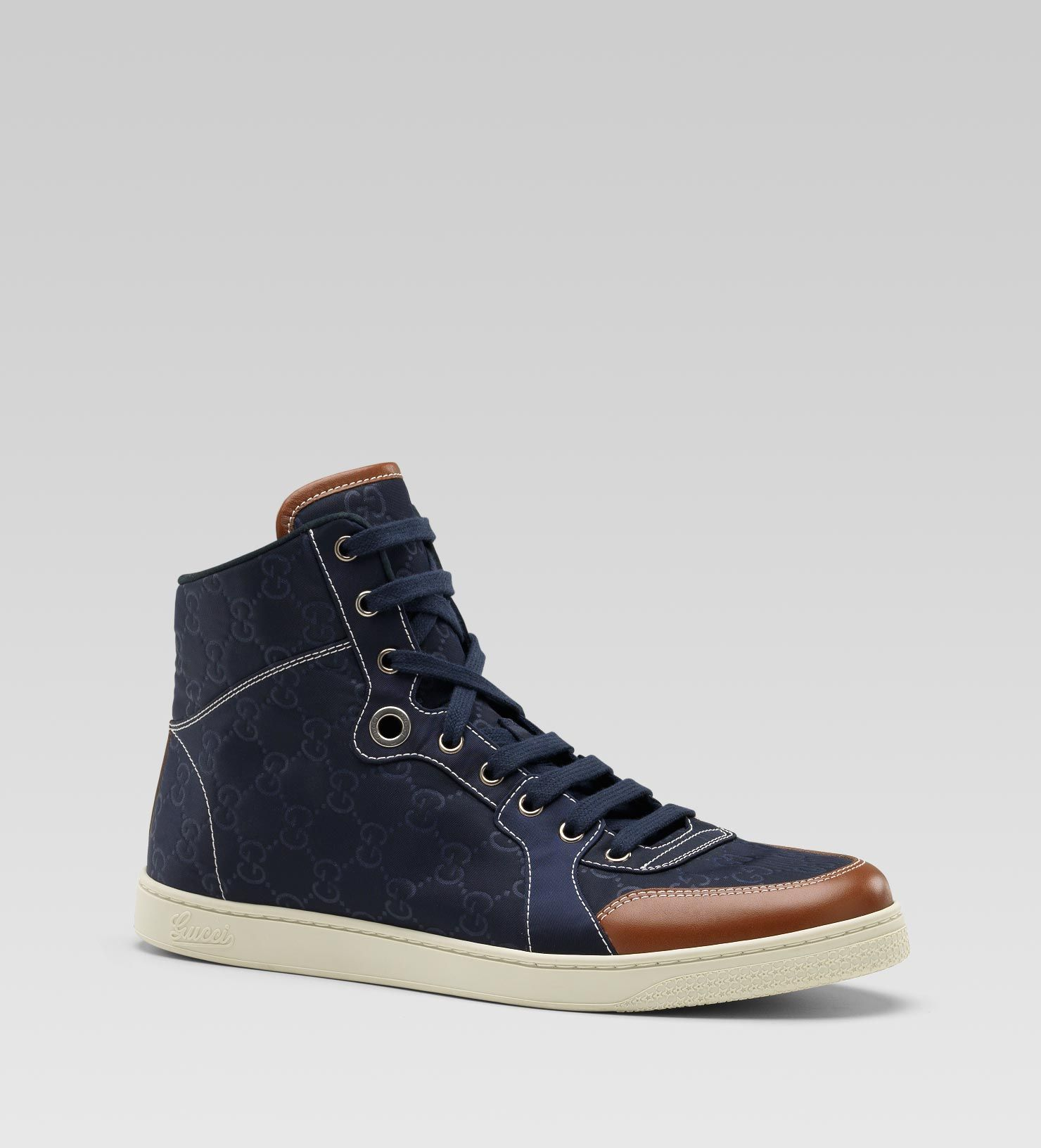 Gucci Sneakers | Gucci Men Hi Top Sneaker Blue Nylon Guccissima | Sneaker  Cabinet