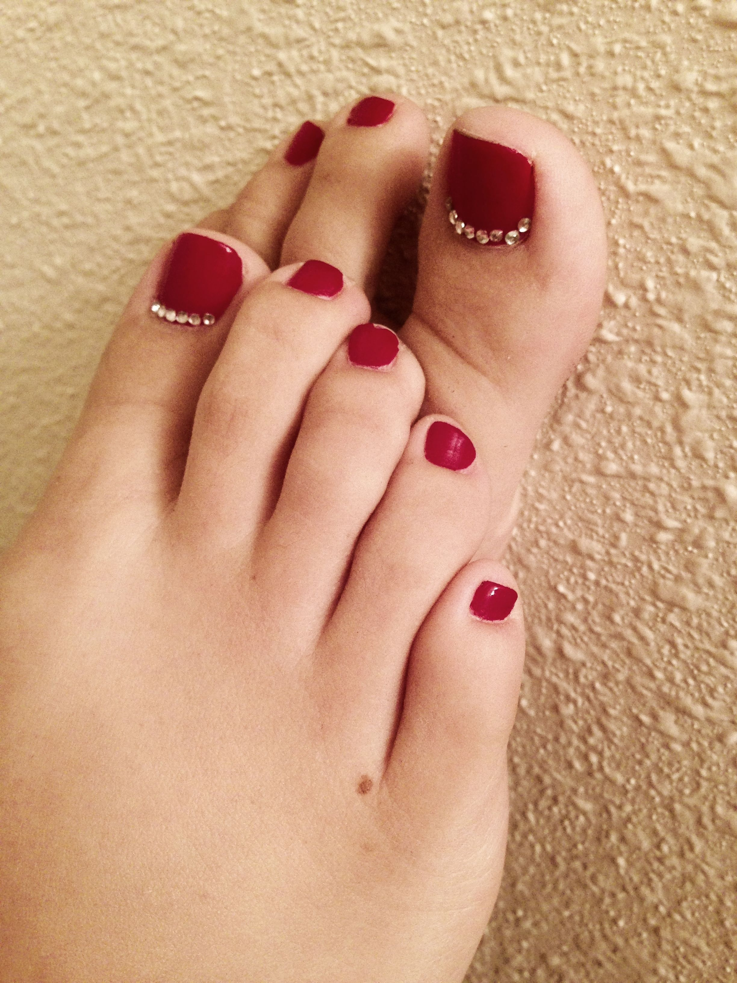 Deep red toes with little rhinestones on the big toes! | Fingers and ...