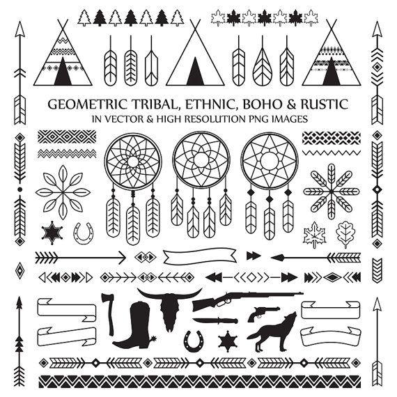 Line Art Tribal Boho Clipart Feather Arrow Dreamcatcher Etsy Tribal Geometric Clip Art Tribal