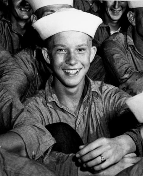 A young American sailor beams while on active duty during the Pacific campaigns of World War II ca1940s