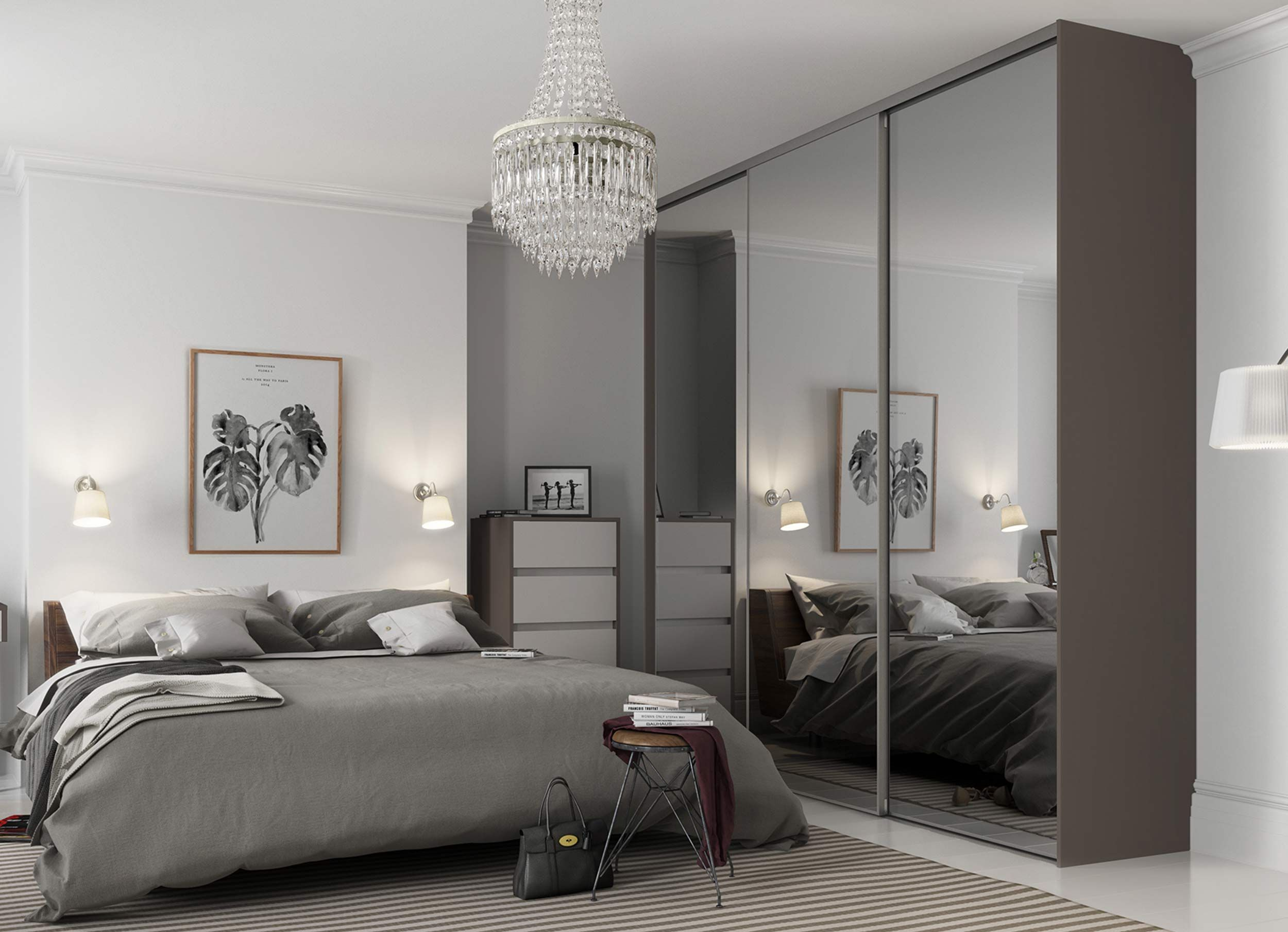floor to ceiling mirrors can help to open up your bedroom