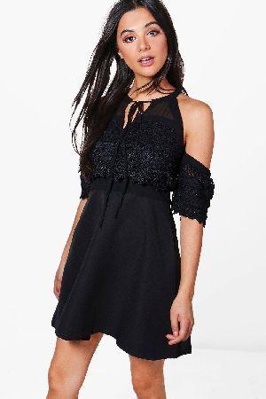 84624366ef  boohoo Cold Shoulder Lace Skater Dress - black DZZ56459  Izzy Cold Shoulder  Lace Skater