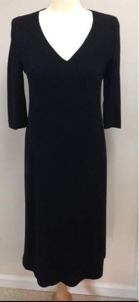 Max Mara Little Black Sheath Dress Size 8 34 Sleeve V Neck Knee