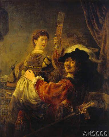Rembrandt+Harmensz+van+Rijn+-+Selbstbildnis+mit+Saskia