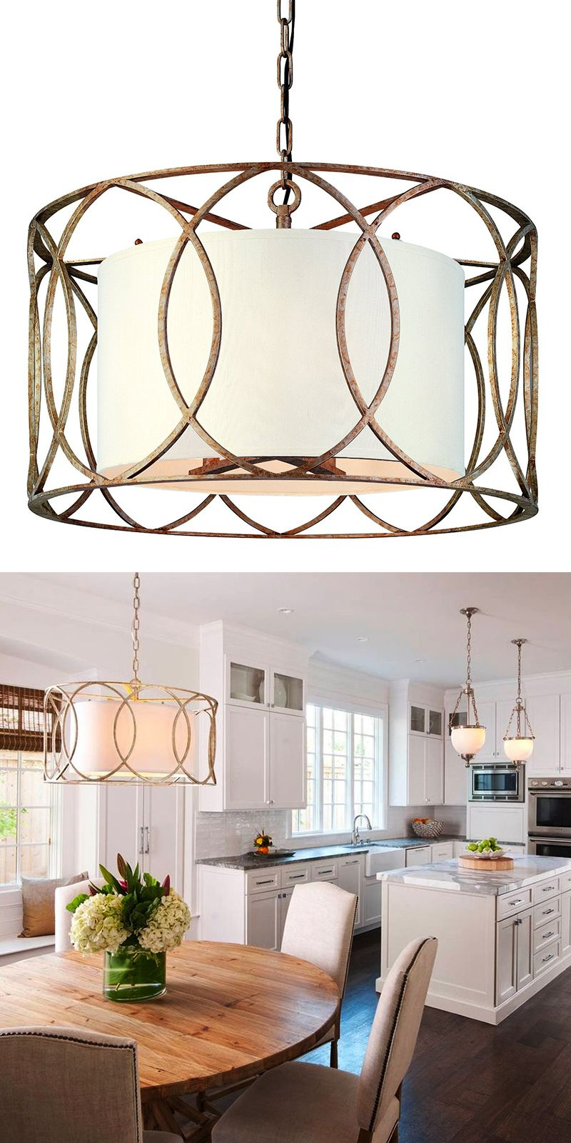 fabulous drum pendant light fixtures living room | Gold Drum Shade Pendant in 2019 | Dining lighting, Drum ...