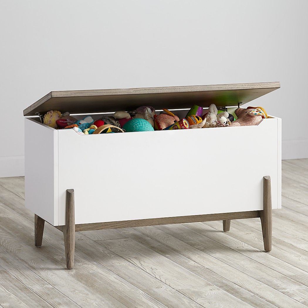 Shop Wrightwood Grey Stain And White Toy Box Our Wrightwood Toy