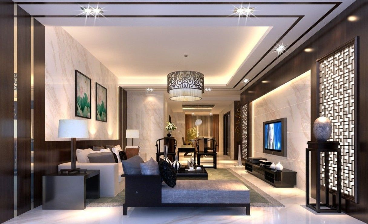 Captivating Living Room Ceiling Rendering Part 22