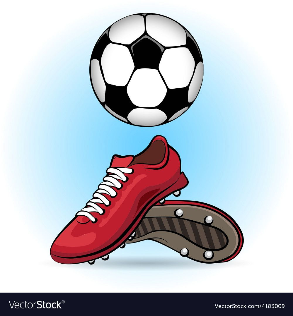 Boots And Ball Vector Image On Vectorstock Ball Drawing Cartoon Styles Soccer Silhouette