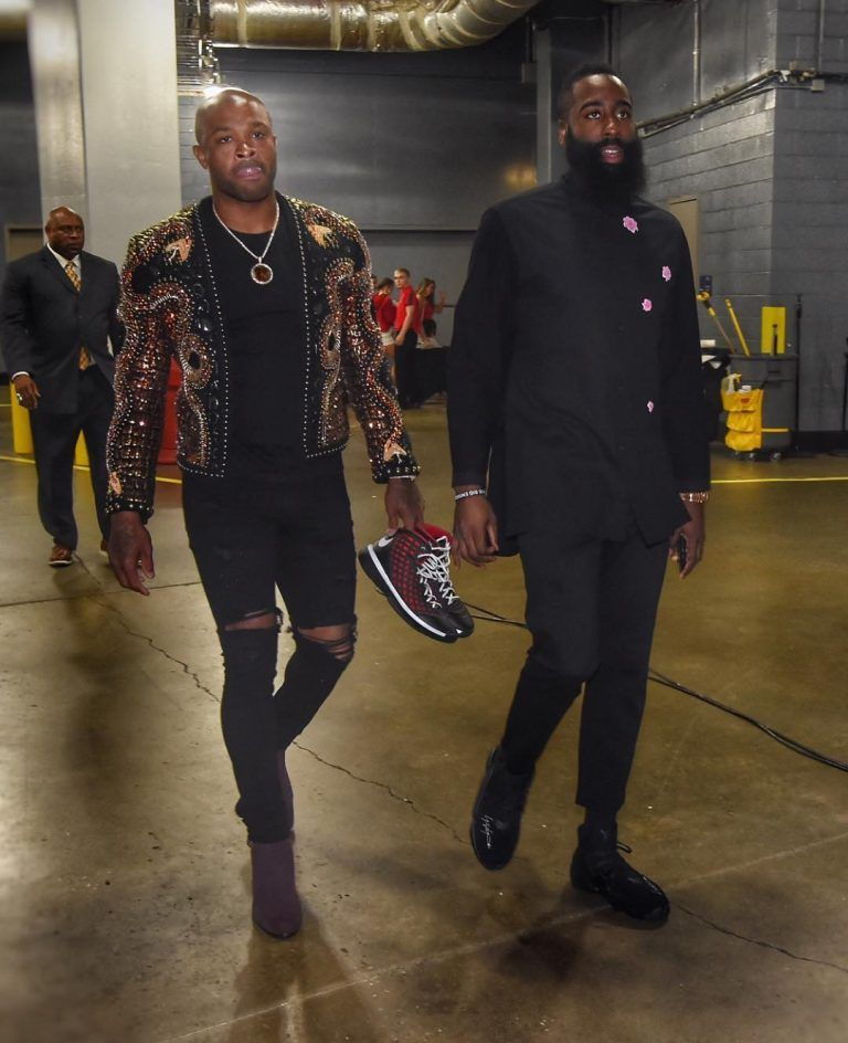 5b5ae0f1ccd4 ICYMI  James Harden Rocks Y-3 Shirt   Sneakers With PJ Tucker In Balmain  Jacket And Saint Laurent Boots