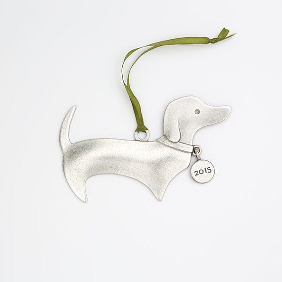 super cute pewter dachshund ornament