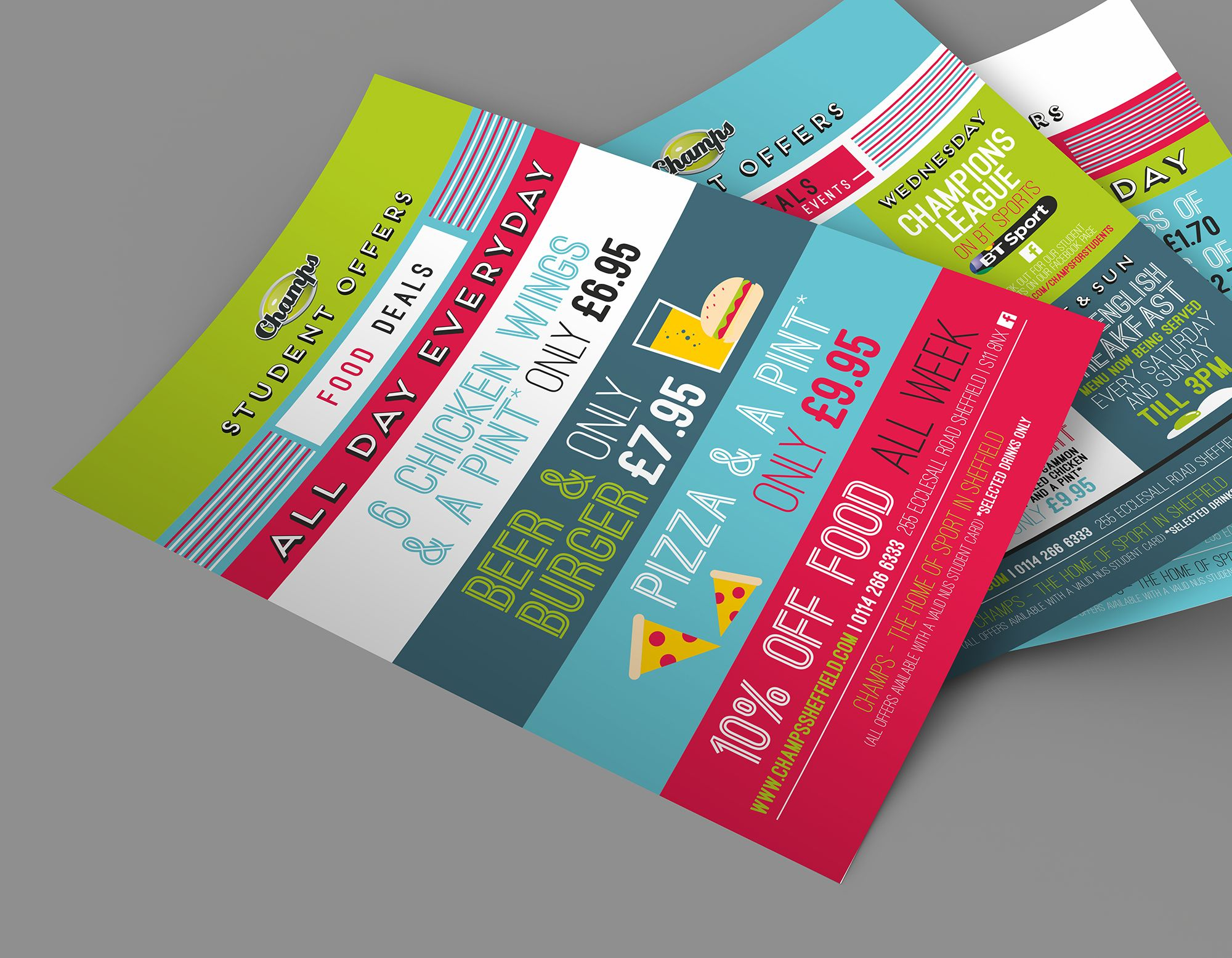 Champ Sports Bar  Student Offers Leaflet Design  Ds Design