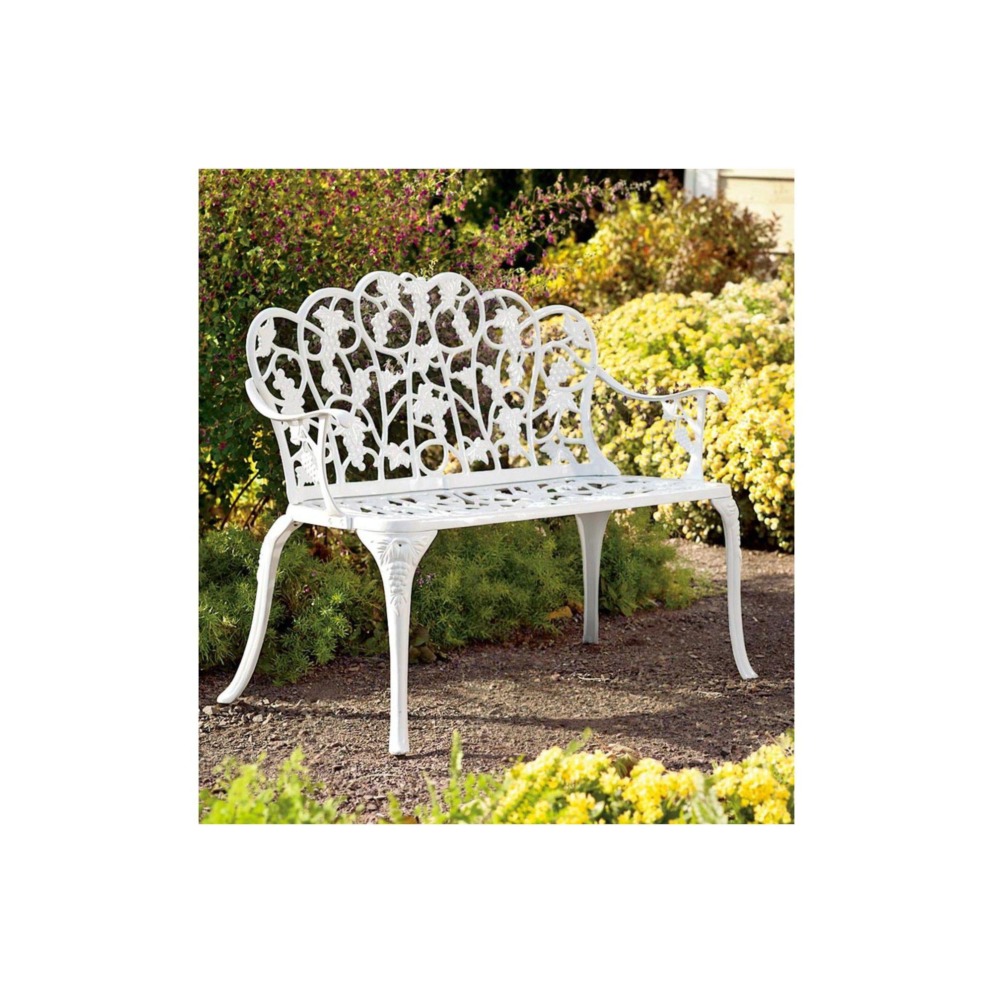 Fabulous Aluminum Vintage Style Outdoor Garden Bench With Grape Vine Theyellowbook Wood Chair Design Ideas Theyellowbookinfo