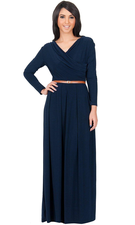 Koh koh womens long sleeve wrap vneck flowy winter pleated gown