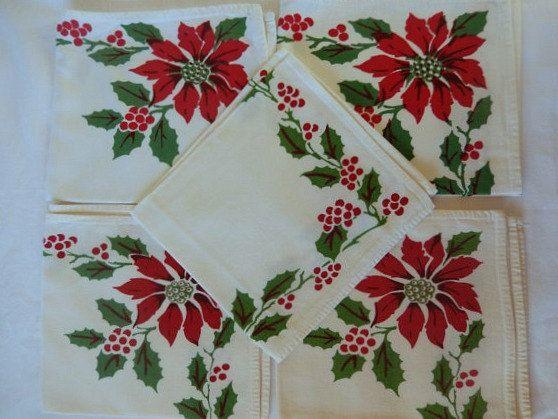 vintage Christmas napkins 8 dinner napkins cotton by brixiana