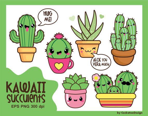 kawaii clip art, valentine clipart, kawaii cactus clipart, kawaii
