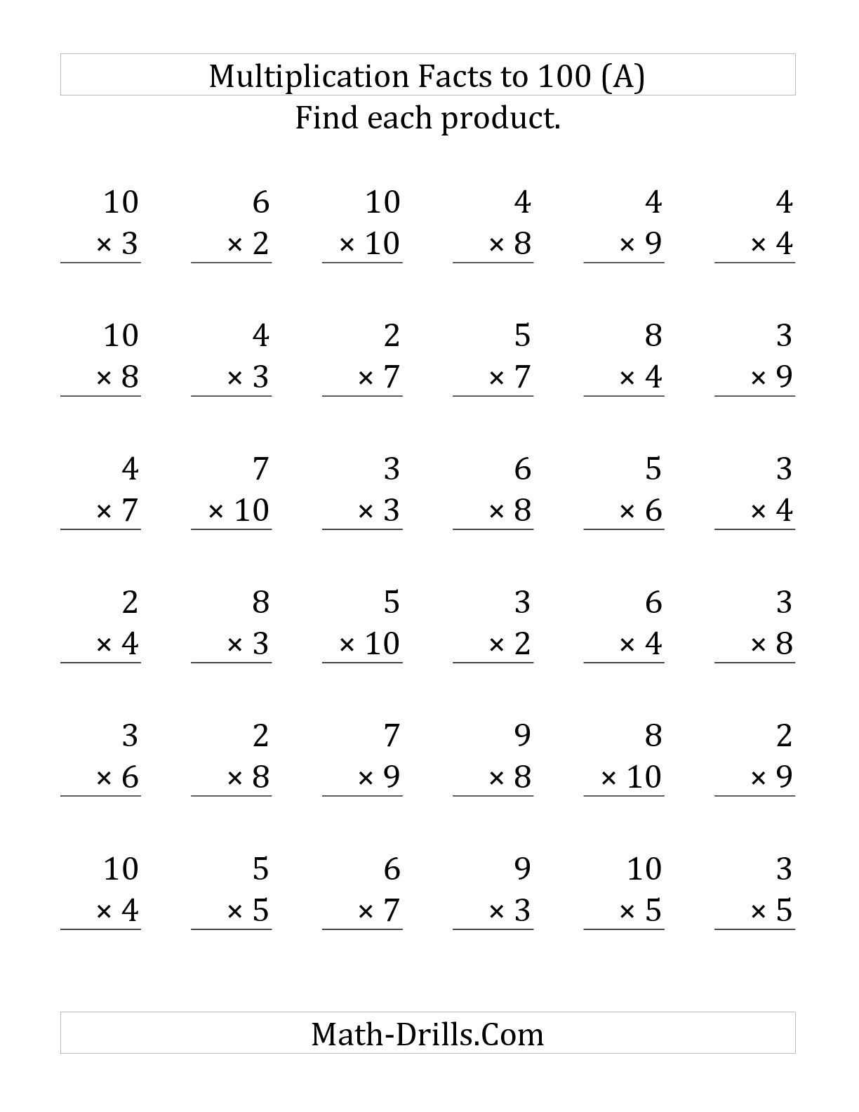 worksheet Multiplication Ws the multiplication facts to 100 no zeros or ones 36 questions per page