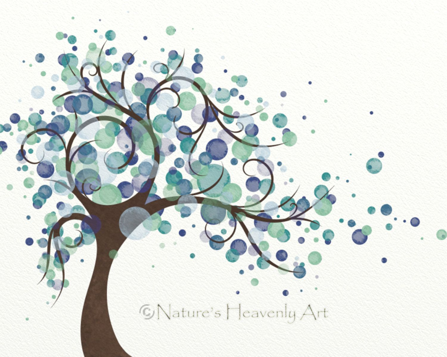 Blue Green Circle Watercolor Tree Art 8 X 10 Print Natures Beauty