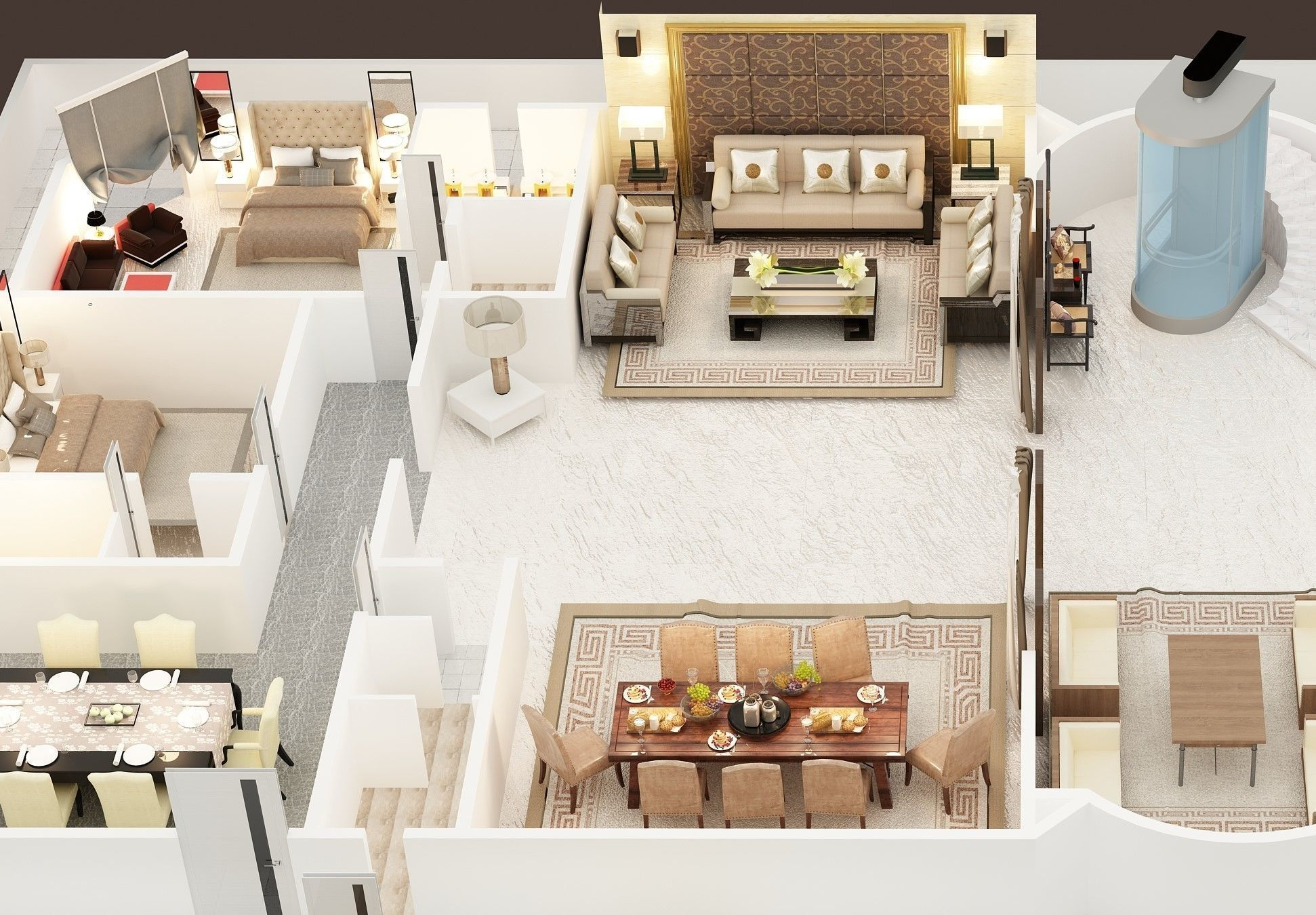 3d Floor Plan Of Luxury House Ground Foor 3d Cgtrader Luxury Plan Architectural Decoration Luxury House