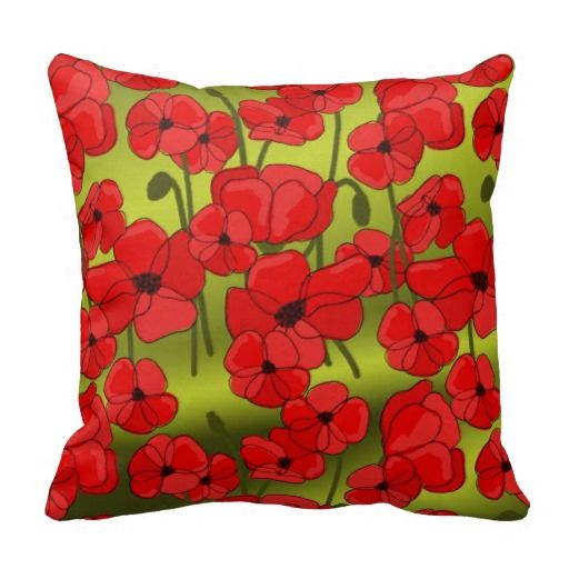 Elegant Red Poppies on Green Gradient Pillow. Such a pretty floral pillow for your home! Design by Cherie