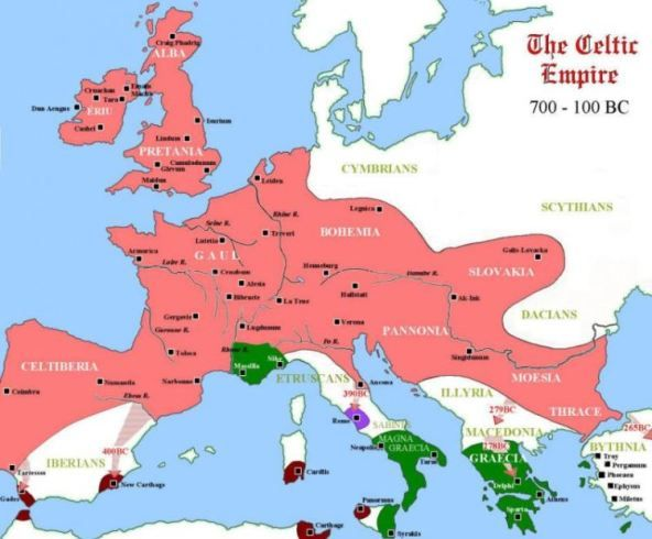 Map of Europe at the height of Celtic power. Roman conquests ...
