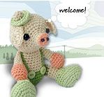 """Amigurumi Little Pig ~ 6.5"""" tall with 4-ply cotton ~ CROCHET"""