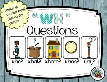"""WH Questions Activity Packet! 41 pages of """"wh"""" practice. Includes posters and discussion cards. Ideal for the special education classroom."""