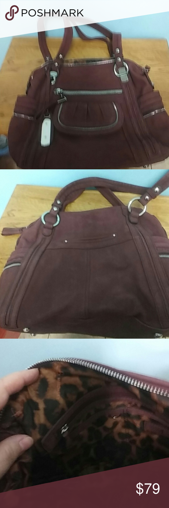 Reduced! B Makowsky zip-top satchel, berry color. All reasonable offers considered! Suede leather with polyester leopard-print lining.  1 zip pocket outside and 4 other outside pockets. 1 zip pocket inside.  Excellent condition; only used once. B. Makowsky Bags Satchels