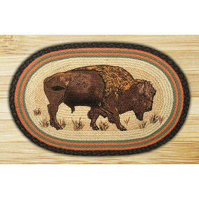 "EarthRugs Buffalo Printed Area Rug Rug Size: Oval 1'8"" x 2'6"""