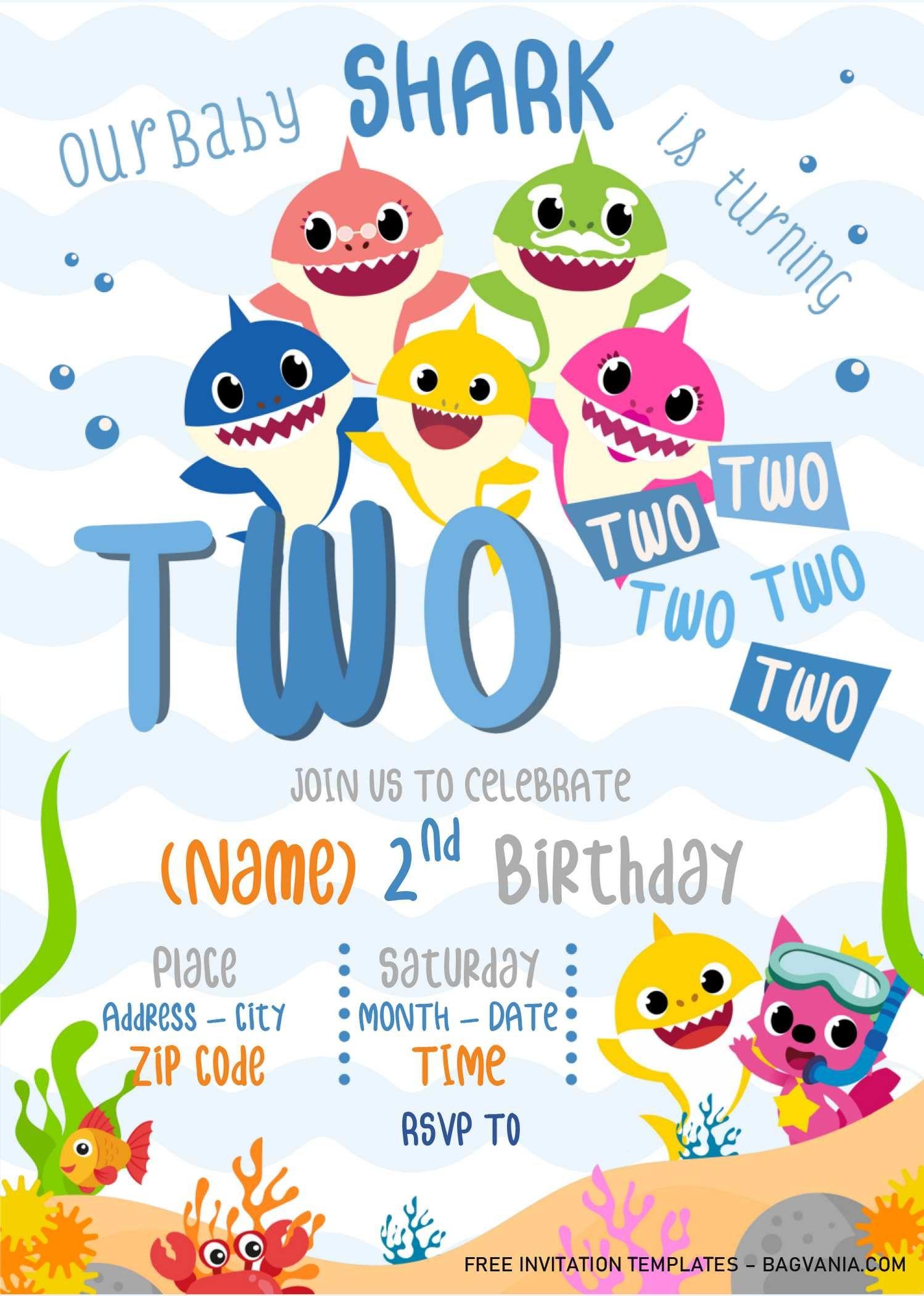 Baby Shark Birthday Invitation Templates Editable With Microsoft Word Shark Birthday Invitations Shark Theme Birthday Shark Birthday Party Invitation