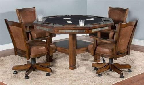 Game Room Card Table And Chairs 5 Piece Set Reverse Dining Surface