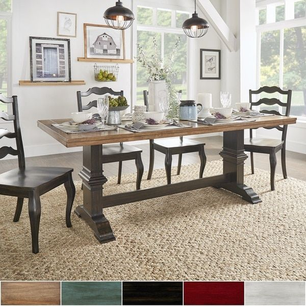 Eleanor Twotone Rectangular Solid Wood Top Dining Table Gorgeous Natural Wood Dining Room Tables Design Ideas